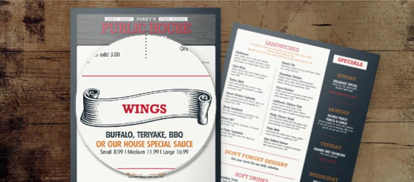restaurant menu design tips - specials